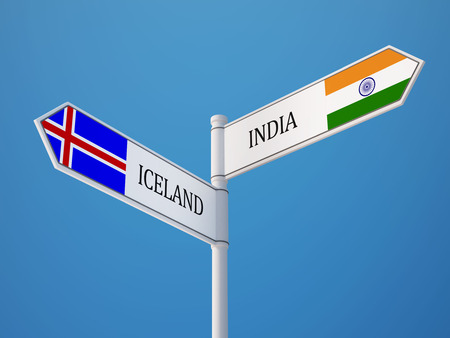 Iceland India High Resolution Sign Flags Concept photo