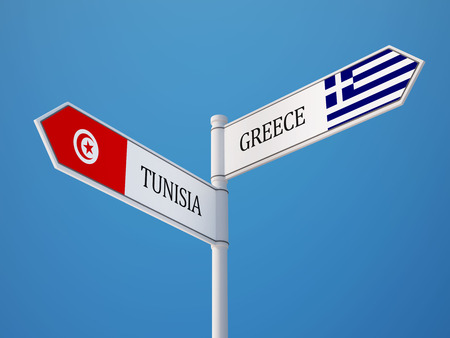 tunisie: Tunisia Greece High Resolution Sign Flags Concept Stock Photo