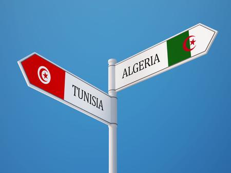 tunisie: Tunisia Algeria High Resolution Sign Flags Concept