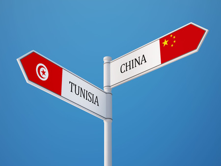 tunisie: Tunisia China High Resolution Sign Flags Concept