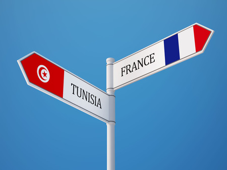 tunisie: Tunisia France High Resolution Sign Flags Concept