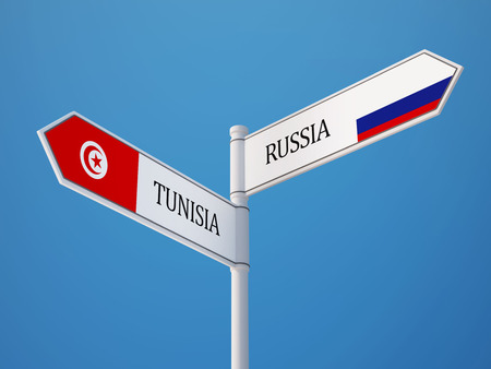 tunisie: Tunisia Russia High Resolution Sign Flags Concept Stock Photo