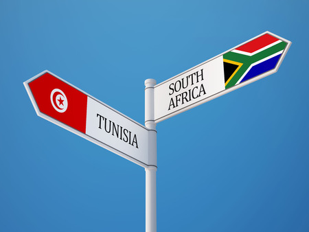 tunisie: Tunisia South Africa High Resolution Sign Flags Concept Stock Photo