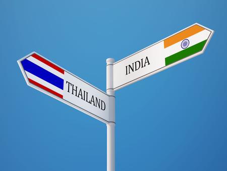 タイ インド高解像度記号フラグ コンセプト