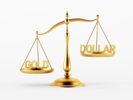 scale of justice: Gold and Dollar Justice Scale Concept isolated on white background