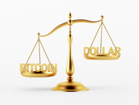 Bitcoin en Dollar Justitie Schaal Concept geïsoleerd op witte achtergrond Stockfoto - 29050345