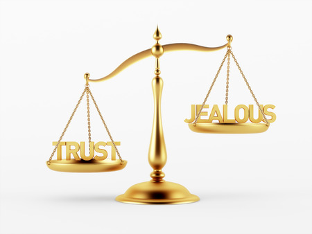 scale of justice: Trust and Jealous Justice Scale Concept isolated on white background Stock Photo