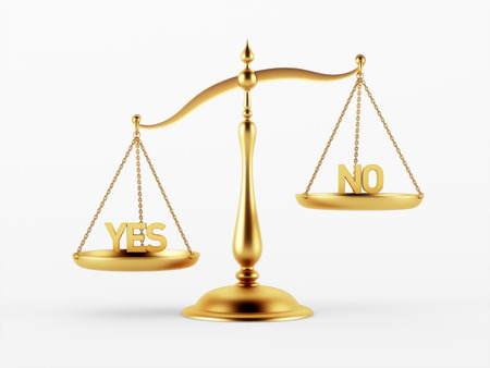 scale of justice: Yes and No Justice Scale Concept isolated on white background