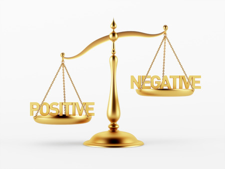 scale of justice: Positive and Negative Justice Scale Concept isolated on white background