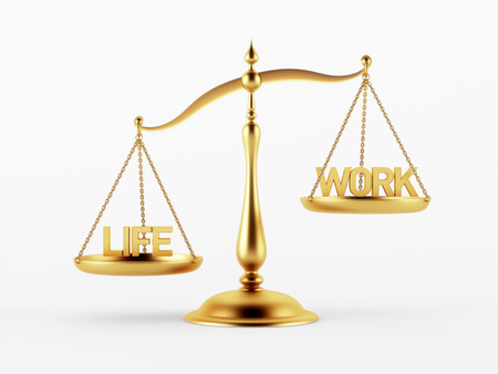 scale of justice: Life and Work Justice Scale Concept isolated on white background