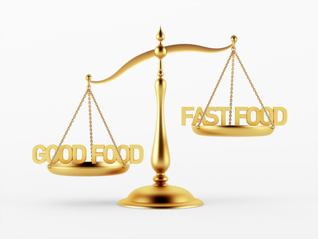 good judgment: Good and Fast Food Justice Scale Concept isolated on white background Stock Photo