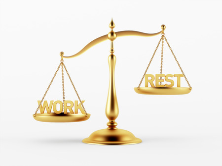 scale of justice: Work and Rest Justice Scale Concept isolated on white background Stock Photo