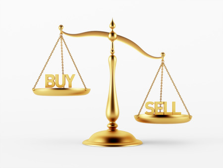 scale of justice: Buy and Sell Justice Scale Concept isolated on white background Stock Photo