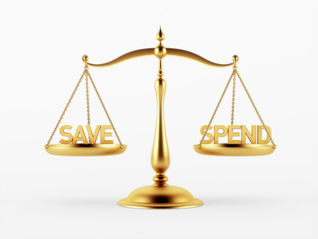 scale of justice: Save and Spend Justice Scale Concept isolated on white background