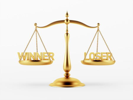 scale of justice: Winner and Loser Justice Scale Concept isolated on white background