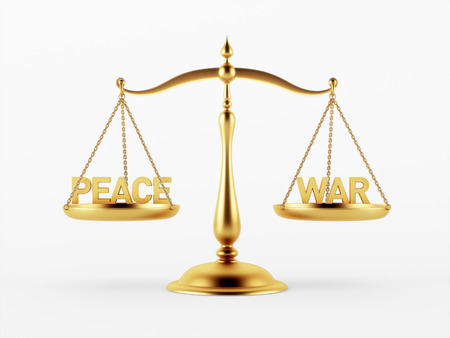 scale of justice: Peace and War Justice Scale Concept isolated on white background