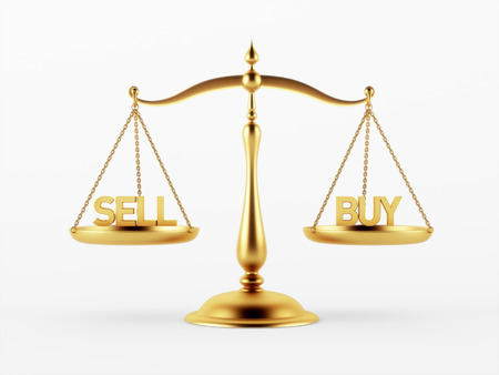 scale of justice: Sell and Buy Justice Scale Concept isolated on white background