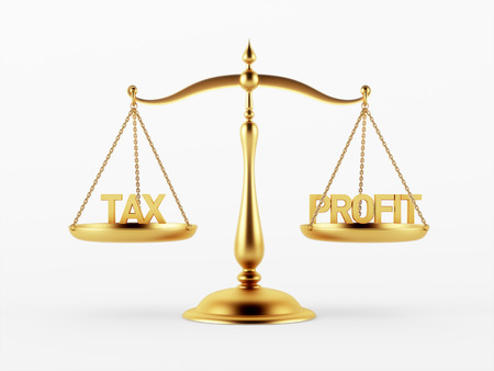scale of justice: Tax and Profit Justice Scale Concept isolated on white background