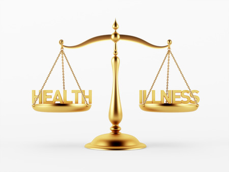 scale of justice: Health and Illness Justice Scale Concept isolated on white background Stock Photo