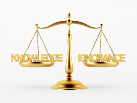 ignorance: Knowledge and Ignorance Justice Scale Concept isolated on white background