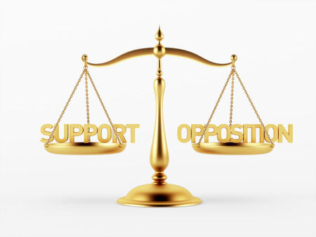 Support and Opposition Justice Scale Concept isolated on white background Stock Photo