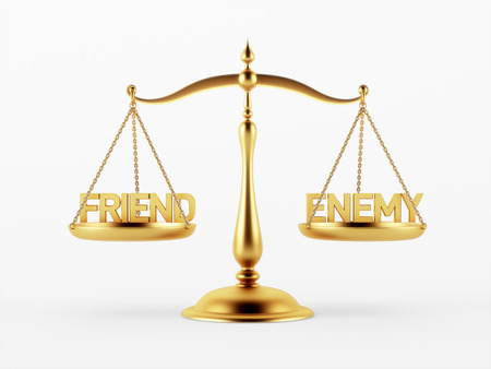 scale of justice: Friend and Enemy Justice Scale Concept isolated on white background