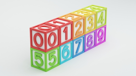 Box Number Toy isolated on white background photo