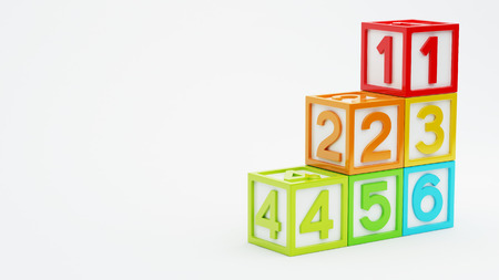 big five: Box Number Toy isolated on white background