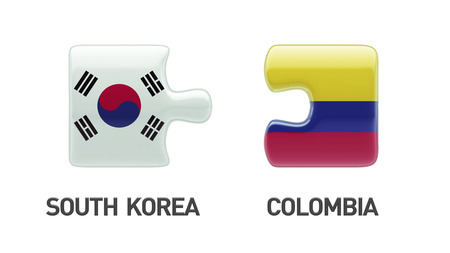 South Korea Colombia Countries High Resolution Puzzle Concept Imagens