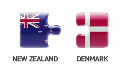 danish flag: Denmark New Zealand High Resolution Puzzle Concept