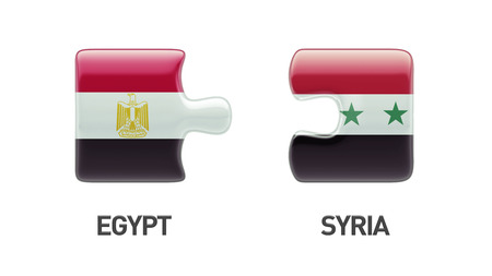 Syria Egypt High Resolution Puzzle Concept photo