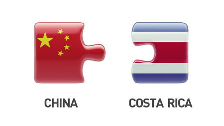 costa rican flag: Costa Rica  China High Resolution Puzzle Concept