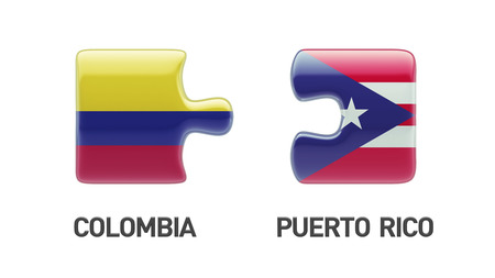 puerto rican flag: Puerto Rico Colombia High Resolution Puzzle Concept