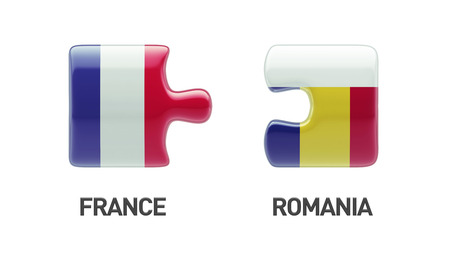 romania: Romania France High Resolution Puzzle Concept Stock Photo