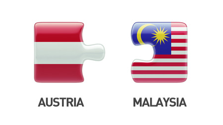 Oostenrijk Maleisië met hoge resolutie puzzel Concept