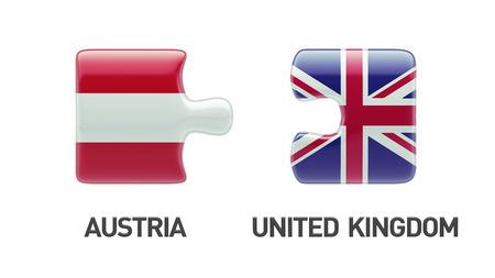 austrian flag: United Kingdom Austria High Resolution Puzzle Concept Stock Photo