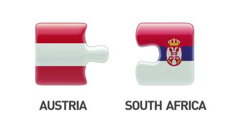 austrian flag: Serbia Austria High Resolution Puzzle Concept