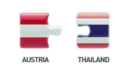 austrian flag: Thailand Austria High Resolution Puzzle Concept Stock Photo
