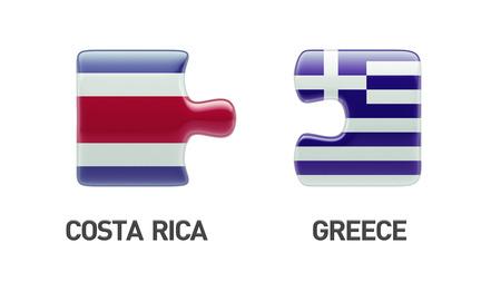 costa rican flag: Costa Rica  Greece High Resolution Puzzle Concept