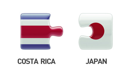 costa rican flag: Costa Rica  Japan High Resolution Puzzle Concept