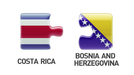 costa rican flag: Bosnia and Herzegovina  Costa Rica High Resolution Puzzle Concept