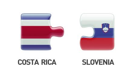costa rican flag: Slovenia Costa Rica High Resolution Puzzle Concept Stock Photo