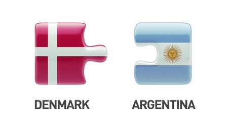 danish flag: Denmark Argentina High Resolution Puzzle Concept Stock Photo