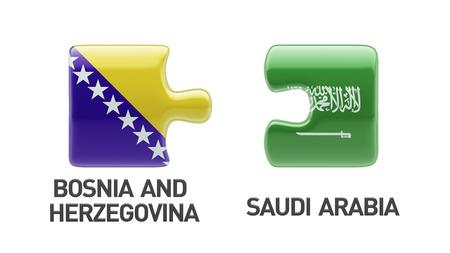 herzegovina: Saudi Arabia Bosnia and Herzegovina High Resolution Puzzle Concept Stock Photo