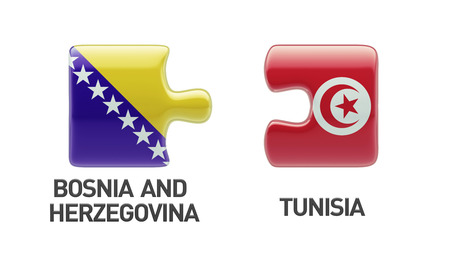 tunisie: Tunisia Bosnia and Herzegovina High Resolution Puzzle Concept Stock Photo