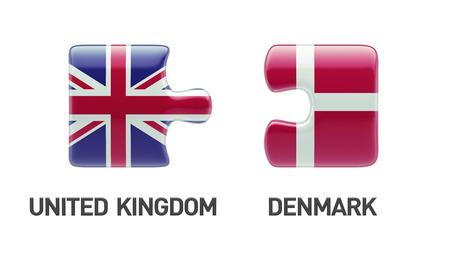danish flag: United Kingdom Denmark High Resolution Puzzle Concept