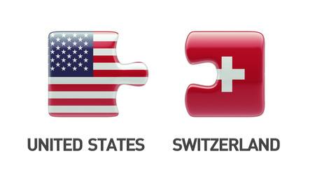United States Switzerland High Resolution Puzzle Concept photo