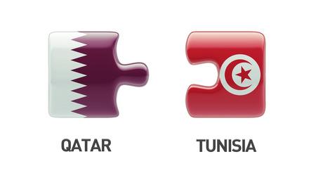 tunisie: Tunisia Qatar High Resolution Puzzle Concept Stock Photo