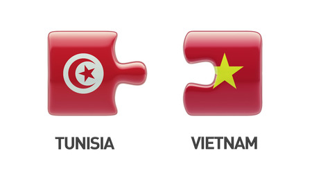 tunisie: Tunisia Vietnam High Resolution Puzzle Concept Stock Photo