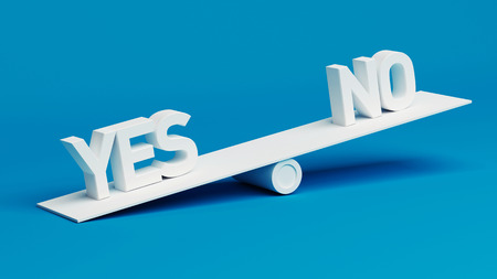 Yes No Scale Concept isolated on blue background photo